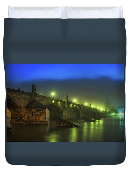Charles Bridge Night In Prague, Czech Republic Duvet Cover