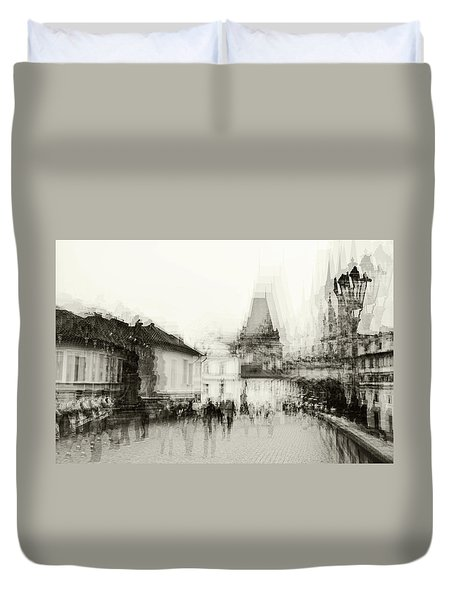 Duvet Cover featuring the photograph Charles Bridge Promenade. Black And White. Impressionism by Jenny Rainbow