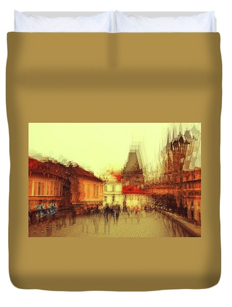 Duvet Cover featuring the photograph Charles Bridge Promenade. Golden Prague. Impressionism by Jenny Rainbow