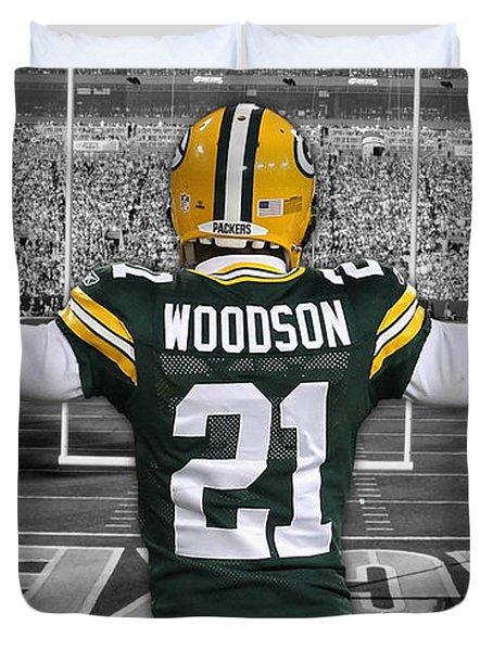 Charles Woodson Green Bay Packers Stadium Art 2 Duvet Cover