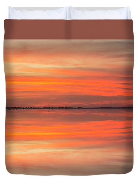 Duvet Cover featuring the photograph Charleston Harbor Sunset 2017 11 by Jim Dollar