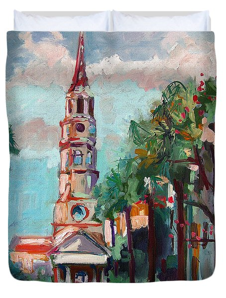 Duvet Cover featuring the painting Charleston St Phillips Church by Ginette Callaway