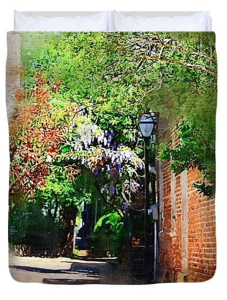Duvet Cover featuring the photograph Charlestons Alley by Donna Bentley