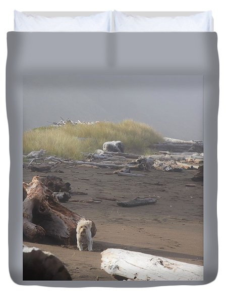 Charlie On Irish Beach Duvet Cover