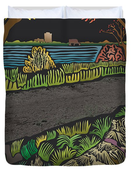 Charlie On Path Duvet Cover by Kevin McLaughlin