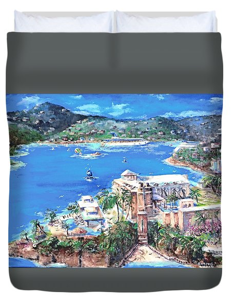 Charlotte Amalie Marriott Frenchmans Beach Resort St. Thomas Us Virgin Island Aerial Duvet Cover by Bernadette Krupa