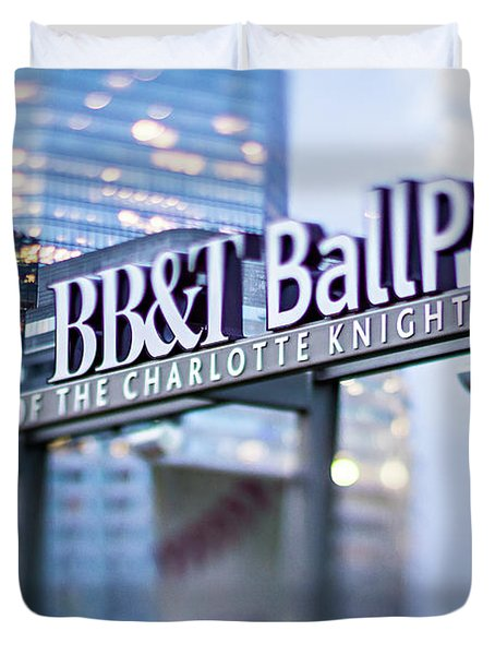Charlotte Nc Usa  Bbt Baseball Park Sign  Duvet Cover