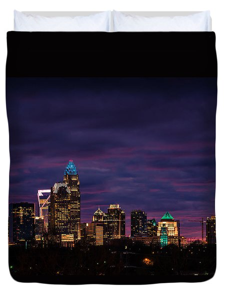 Duvet Cover featuring the photograph Charlotte, North Carolina Winter Sunset by Serge Skiba