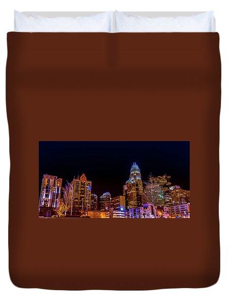 Charlotte Skyline At Night Duvet Cover