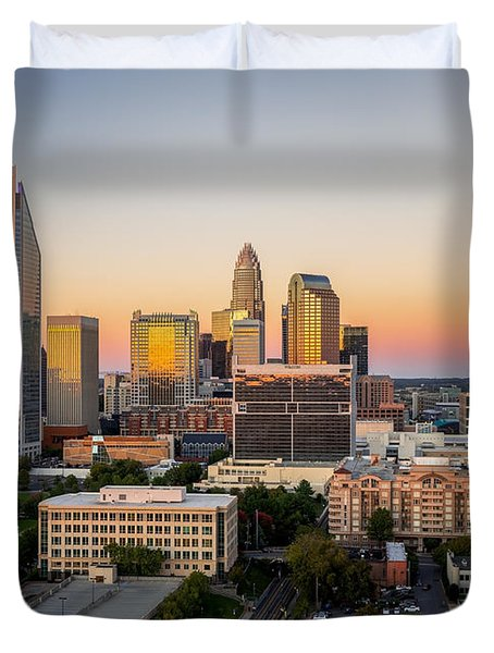 Duvet Cover featuring the photograph Charlotte Skyline At Sunset by Serge Skiba