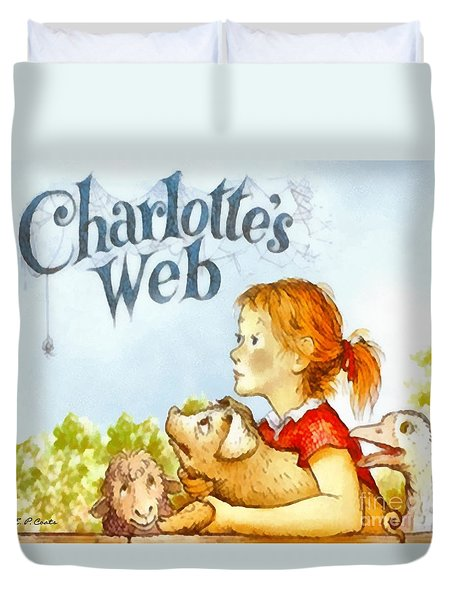 Duvet Cover featuring the painting Charlottes Web by Elizabeth Coats