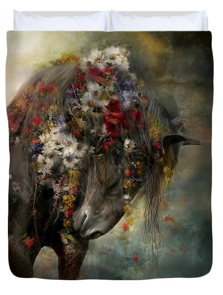 Duvet Cover featuring the painting Charmer  by Dorota Kudyba