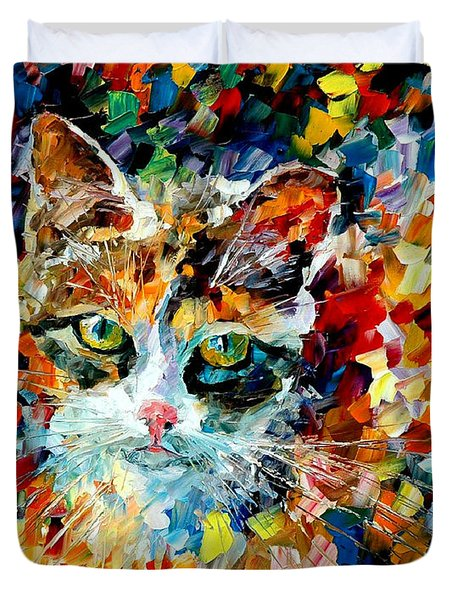 Charming Cat Duvet Cover by Leonid Afremov