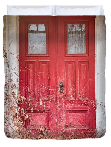 Charming Old Red Doors Portrait Duvet Cover
