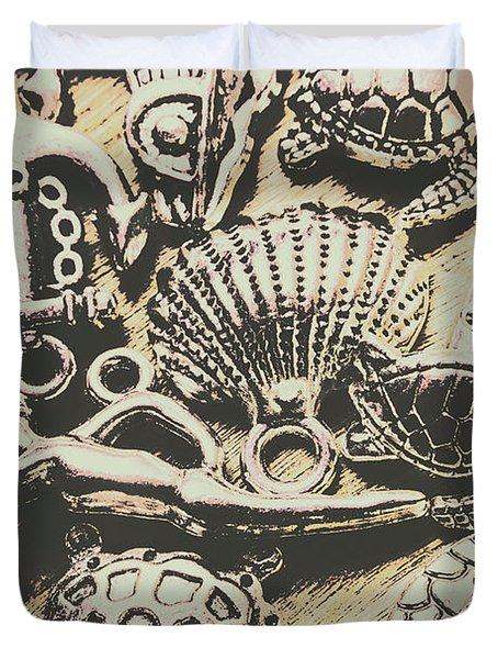 Charming Seashore Symbols Duvet Cover