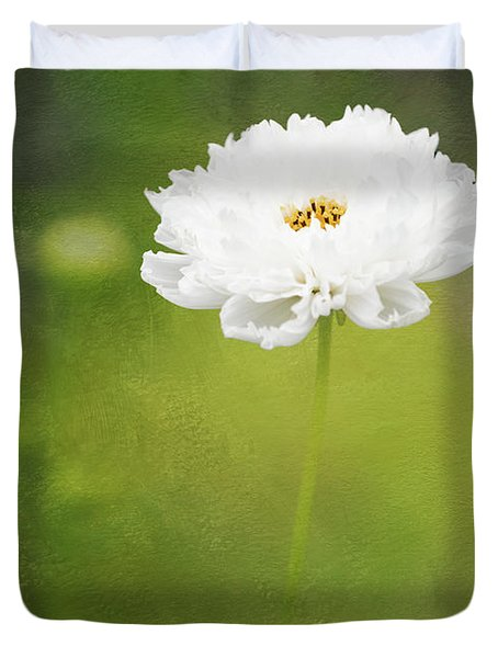 Charming White Cosmos Duvet Cover