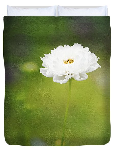 Charming White Cosmos Duvet Cover