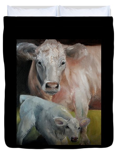 Charolais Cow Calf Painting Duvet Cover by Michele Carter
