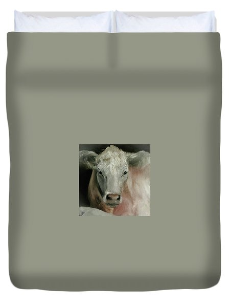 Charolais Cow Painting Duvet Cover