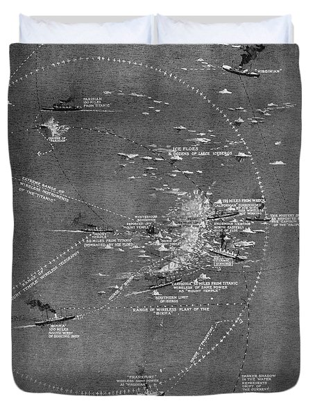 Chart Of The Rms Titanic Wreck Site Duvet Cover