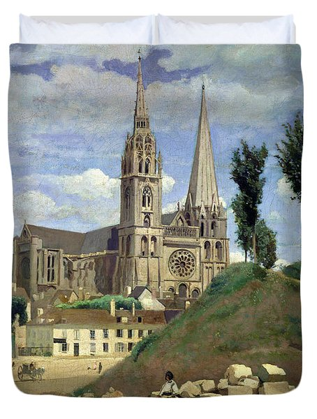 Chartres Cathedral Duvet Cover by Jean Baptiste Camille Corot