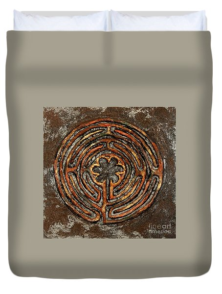 Chartres Style Labyrinth Earth Tones Duvet Cover