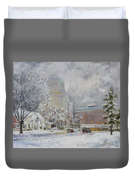 Chase Park Plaza In Winter, St.louis Duvet Cover