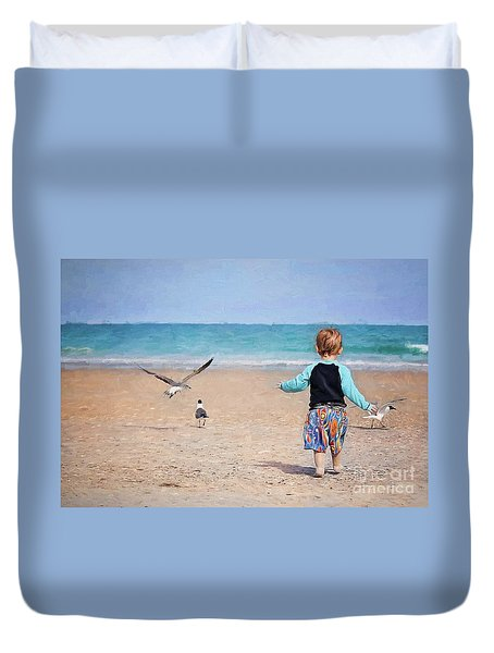Chasing Birds On The Beach Duvet Cover