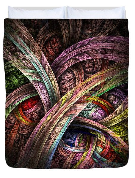 Duvet Cover featuring the digital art Chasing Colors - Fractal Art by NirvanaBlues