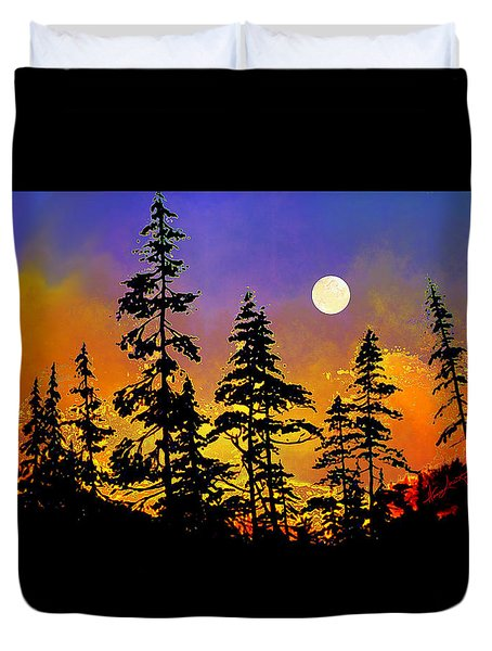 Duvet Cover featuring the painting Chasing The Moon by Hanne Lore Koehler