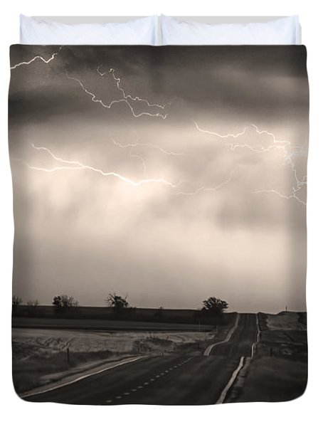Chasing The Storm - County Rd 95 And Highway 52 - Co- Sepia Duvet Cover by James BO  Insogna
