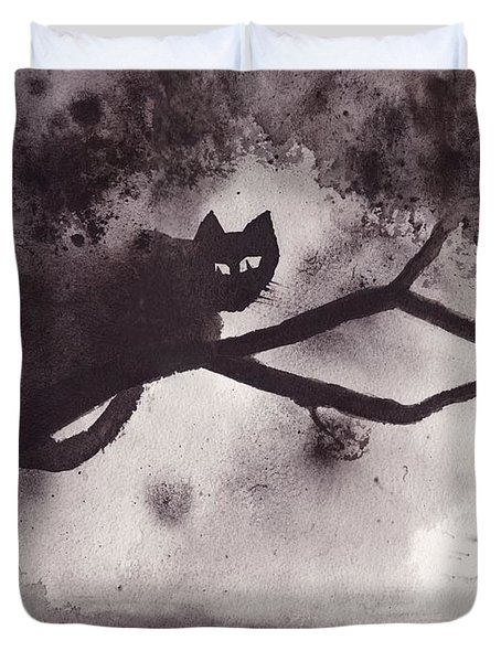 Duvet Cover featuring the painting Chat Dans L'arbre by Marc Philippe Joly