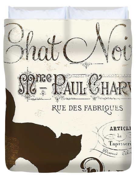Chat Noir Paris Duvet Cover