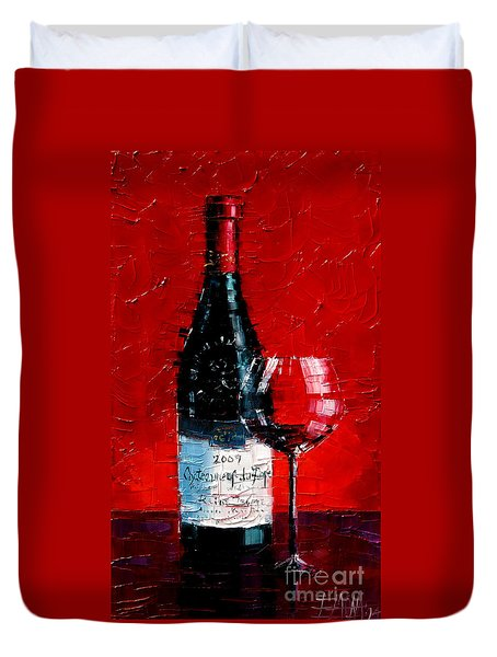 Still Life With Wine Bottle And Glass I Duvet Cover by Mona Edulesco