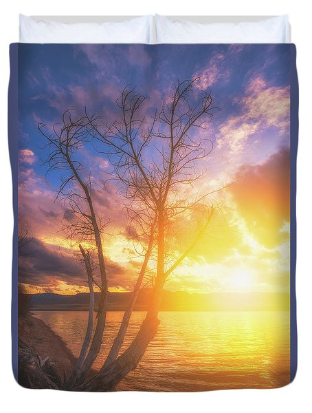 Duvet Cover featuring the photograph Chatfield Lake Sunset by Darren White