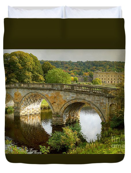Chatsworth House And Bridge Duvet Cover