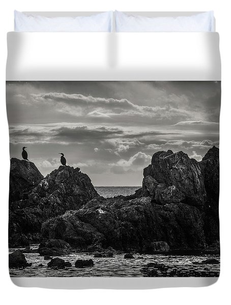 Chatting On Rocks Duvet Cover
