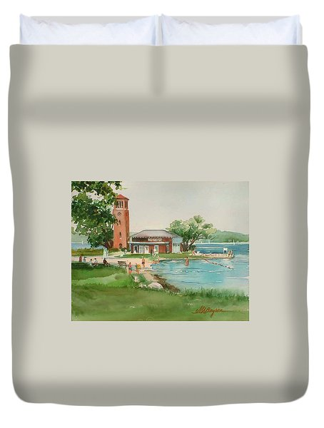 Chautauqua Bell Tower And Beach Duvet Cover
