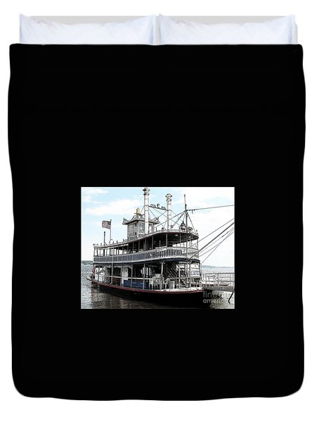 Chautauqua Belle Steamboat With Ink Sketch Effect Duvet Cover