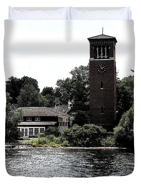 Chautauqua Institute Miller Bell Tower 2 With Ink Sketch Effect Duvet Cover