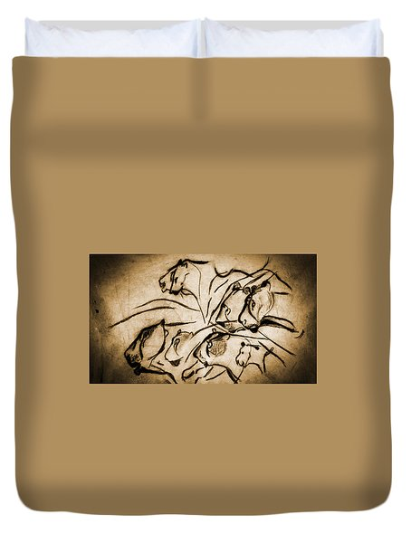 Chauvet Cave Lions Burned Leather Duvet Cover