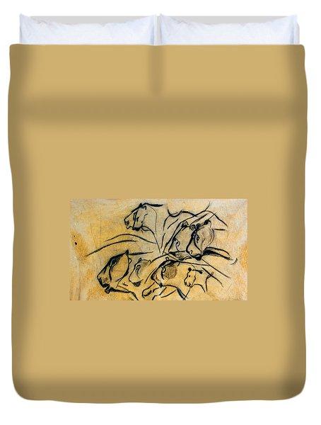 chauvet cave lions Clear Duvet Cover
