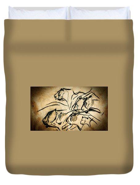 Chauvet Cave Lions Duvet Cover