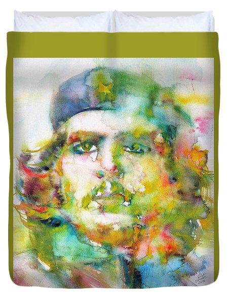 Che Guevara - Watercolor Portrait.2 Duvet Cover by Fabrizio Cassetta