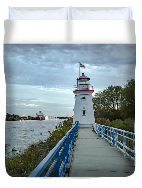 Cheboygan Crib Lighthouse Lake Huron, Lower Peninsula Mi Duvet Cover