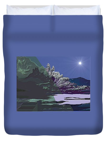 Duvet Cover featuring the digital art 1978 - Nowhere  by Irmgard Schoendorf Welch
