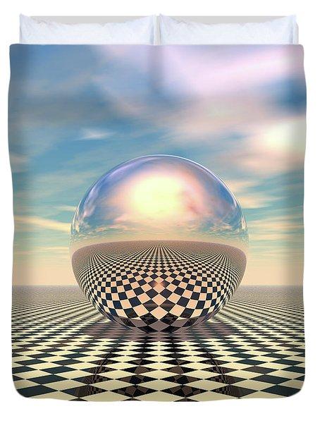 Duvet Cover featuring the digital art Checker Ball by Phil Perkins