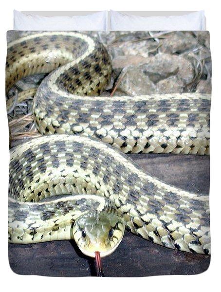 Checkered Garter Snake Duvet Cover