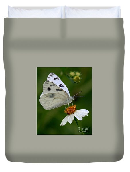 Checkered White Butterfly Duvet Cover by Myrna Bradshaw