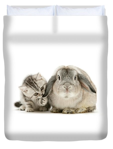 Checking For Grey Hares Duvet Cover